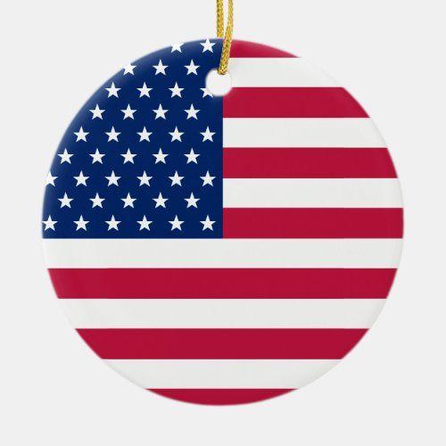Usa Flag Stars Stripes America Patriotic Christmas Ceramic Ornament Zazzle Com In 2020 Patriotic Christmas Custom Christmas Ornaments Patriotic