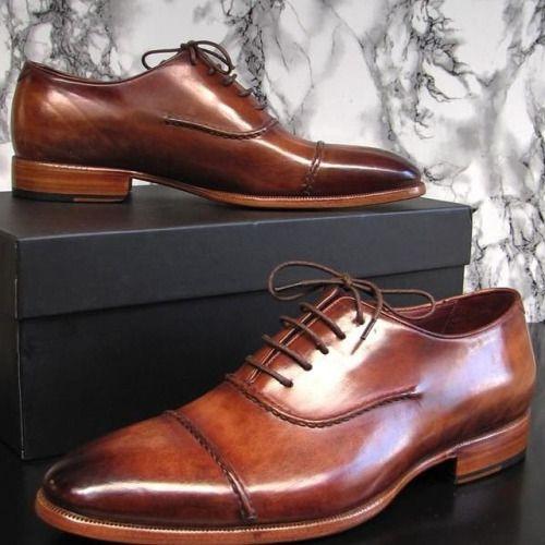 PAUL PARKMAN MEN'S CAPTOE OXFORDS BROWN HAND... | Men's Luxury Shoes by PAUL PARKMAN