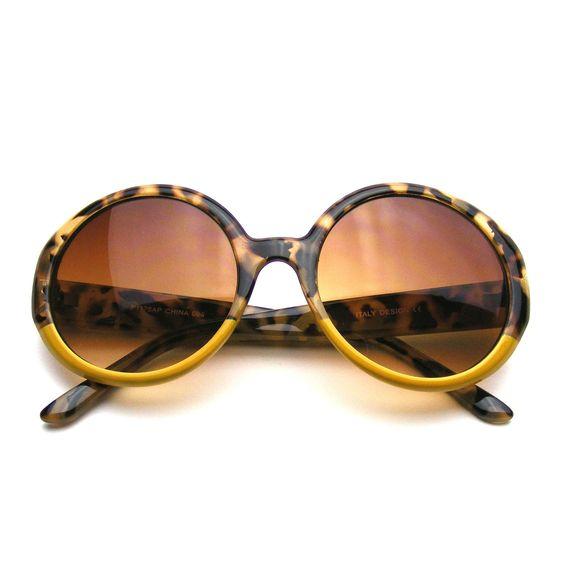 Famous Designer Oversize Round Jackie O Womens Two Tone Sunglasses