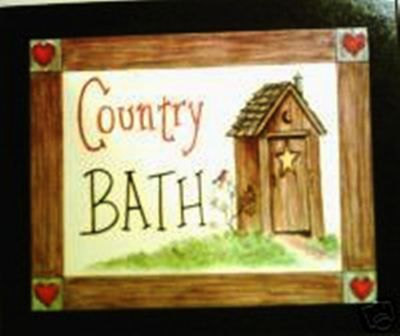 Wood Retro Primitive Country Vintage Outhouse Sign