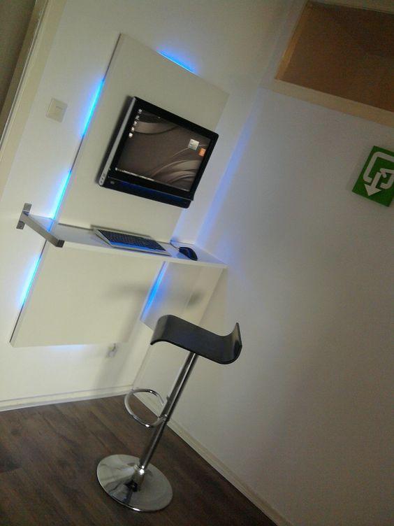 IKEA Hackers: Wall mount computer workstation, pc desk: Office Ideas, Wallmounted Desks, Wall Mount, Mount Computer, Computer Desks, Ikea Hack