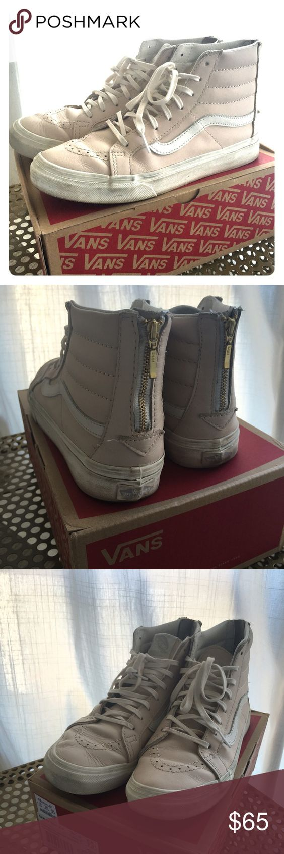 Vans Leather SK8-HI Slim Zip Pink Size 7.5 Lace-up high top with a zipper entry at the heel, leather uppers, signature rubber waffle outsoles, and padded collars for support and flexibility. Color: whispering pink/blanc de blanc US size 7.5.  Slightly used, pretty new Vans Shoes Sneakers