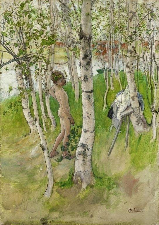 Carl Larsson Ulf En Naken Pojke Mellan Bjrkstammar 1898 Akvarell Nationalmuseum