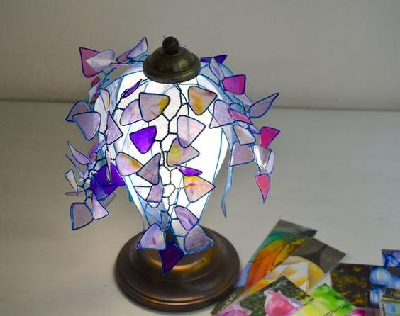 Table Lamp Or Desk Lamp Scent Of Wisteria Single Piece Shipping Free Handcrafted Pottery Ceramic Poppies Handcraft