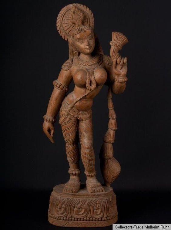 Südindien 20. Jh. Holzfigur -A South Indian Carved Wood Figure - Statue Indienne