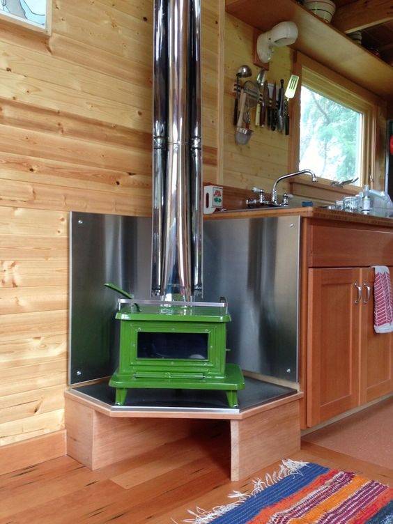 photo poele a bois tiny house