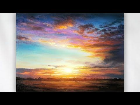 Painting A Realistic Sunset In Acrylics Youtube Landscape Painting Lesson Landscape Painting Tutorial Sunset Painting