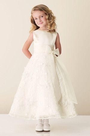 Robe de cortège enfant vintage de princesse arrivée au cheville ceinture decoration en fleur