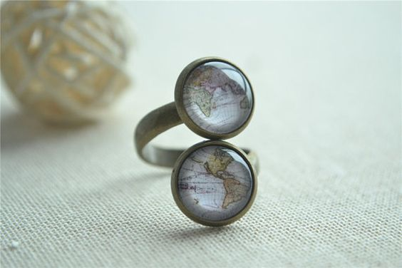 World Map RingEarth Map adjustable RingSteampunk by hmpisces
