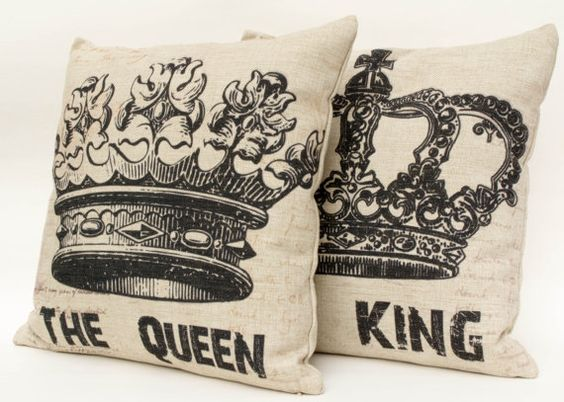King And Queen Decorative Pillows : Set of 2 Cotton linen crown decorative couple pillow case/ cushion cover 16