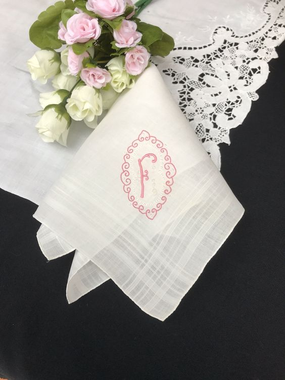 Handkerchief or Shawl or Scarf with Initial Letter