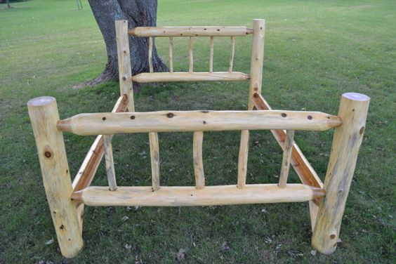 Handmade Cedar Log Queen Sized Bed by craiganddianarose on Etsy, $450.00