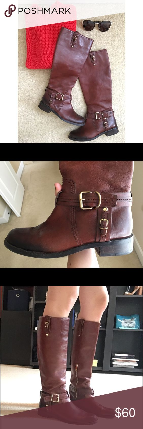 Vince Camuto leather riding boot Beautiful mahogany colored leather boot, gold hardware, side half-zip to easily get the boot on, ombré look on toe, worn only a couple times, no defects. Vince Camuto Shoes Combat & Moto Boots