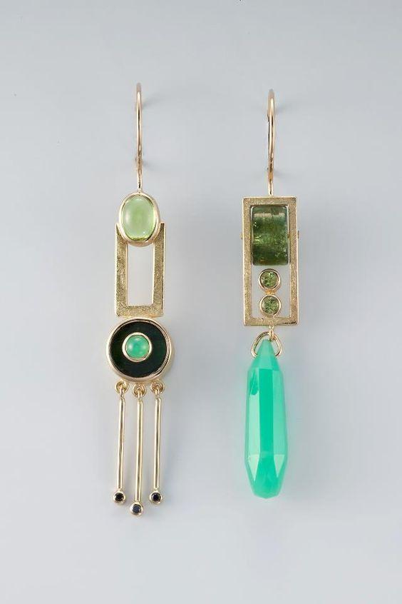 Janis Kerman Design   - earrings -   18KT, PERIDOT, TOURMALINE, CRYPSOPRASE, BLACK DIAMOND