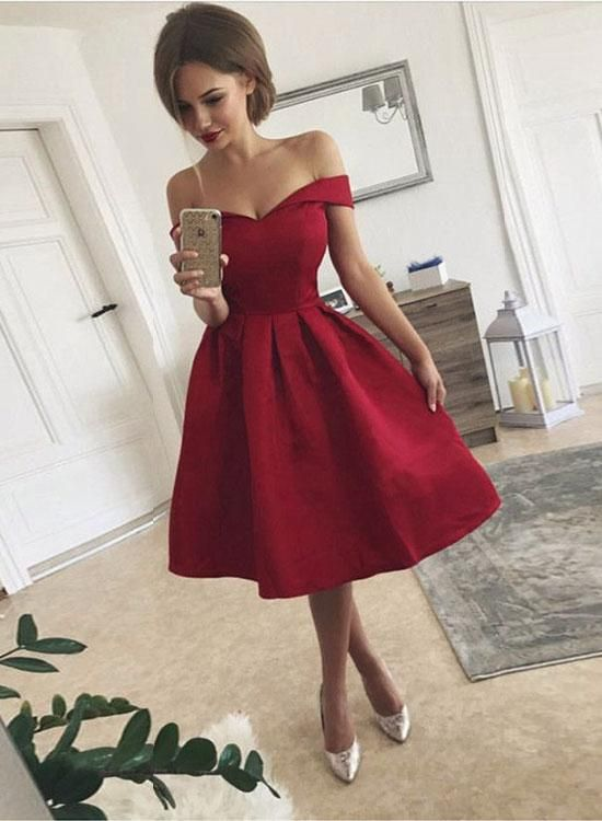 Cute A Line Off Shoulder Shrot Prom Dress Homecoming Dress Party Dress Graduation Dress A Line Prom Dresses Cheap Prom Dress In 2021 Red Homecoming Dresses Knee Length Prom Dress Short Red Prom Dresses