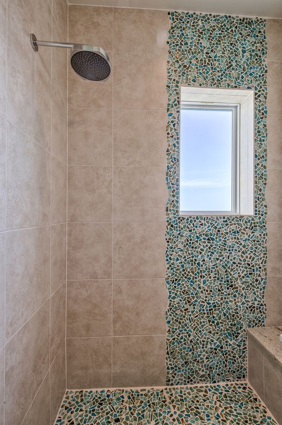 Sea inspired shower with turquoise mosaic tile calusa - Turquoise bathroom floor tiles ...