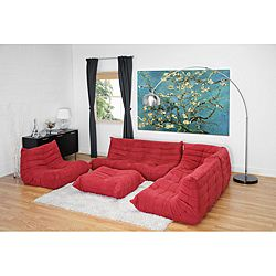 Julio Red Fabric Sectional Sofa Ottoman Set By Baxton Studio Kid Furniture And Contemporary