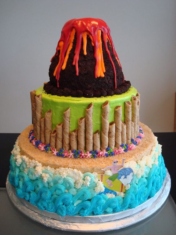 Luau cake - Cakes by Elizabeth. Volcano for the top of Autumn's cake.