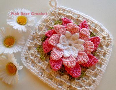 PINK ROSE CROCHET : Pega Panelas Flor Rosa em Square