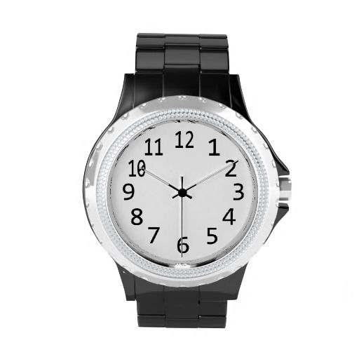 Large black numbers on white face Watch