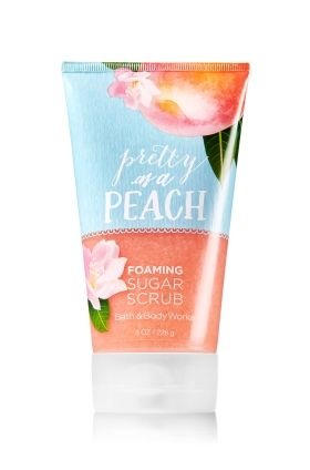 Pretty as a Peach - Foaming Sugar Scrub - Signature Collection - Bath & Body Works - Reveal your most natural beauty! Foaming Sugar Scrub soothes skin with a luxurious, rich lather, while naturally exfoliating sugar crystals gently reveal your radiance. With Vitamin E and Sunflower Oil, this limited edition formula nourishes and protects skin, leaving it incredibly soft and smooth.