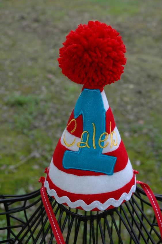 1st Birthday Party Hat customized with NAME and number 1- 2-3 etc.. inspired by Seuss - Cat in the hat or Circus Party Theme on Etsy, $27.95