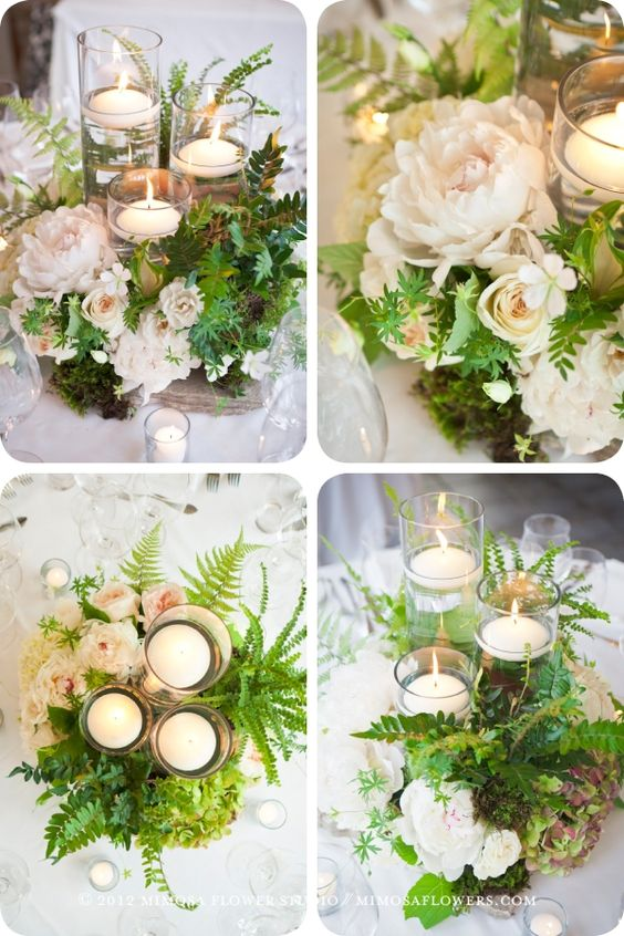'rough-luxe' look for these centrepieces, we started with a piece of flagstone (yes, a rock!) and built up around the trinity of glass and floating candles using cream and natural coloured florals, miniature ferns, moss and cuttings: