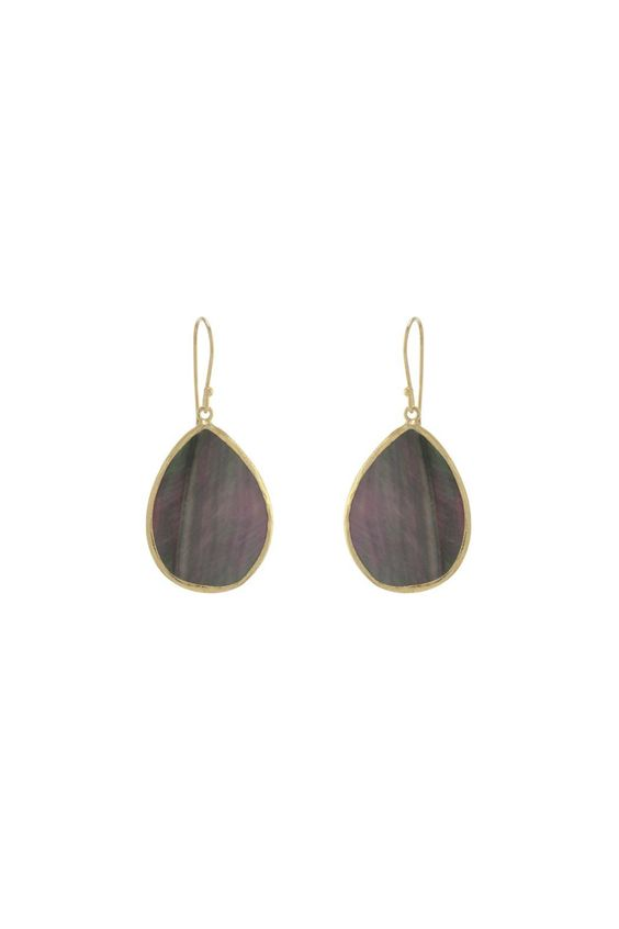 """A stunning naturalabalone stone is set in 14kt gold vermeil. Total length of earrings measures just under two inches. Abalone pendant measures approximately 1.5"""". French ear wires. Abalone Drop Earrings by Gemma Collection. Accessories - Jewelry - Earrings - Statement Dallas Texas"""