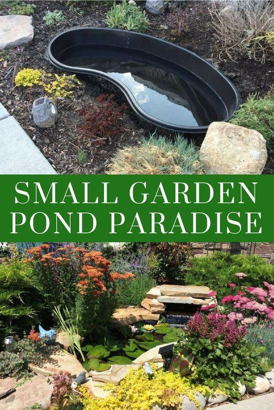 Small Garden Pond Paradise - Build Your Dream Pond Paradise Using A 55 Gallon Pond Liner #garden #gardenpond #pond #diypond #diy