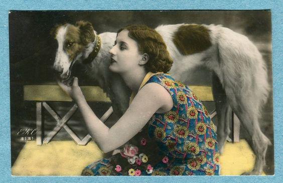 G5636 Real Photo Postcard, Woman & Borzoi Dog, EKC no. 3131, Hand Tinted