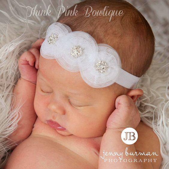 bandeau bébé, bandeau de baptême, baptême serre-tête, bandeau ...