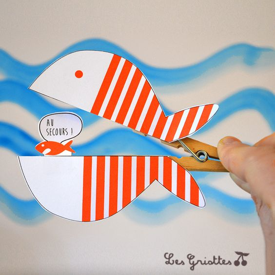 Le poisson d'avril sur pince à linge {bricolage du mercredi} | Les Griottes Papotent...: