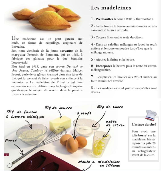 une recette les madeleines french fran ais. Black Bedroom Furniture Sets. Home Design Ideas