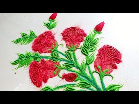 How To Draw Simple Creative And Unique Rose Flower Rangoli Designs With Colours For Festivals Youtub Flower Drawing Colorful Rangoli Designs Roses Drawing
