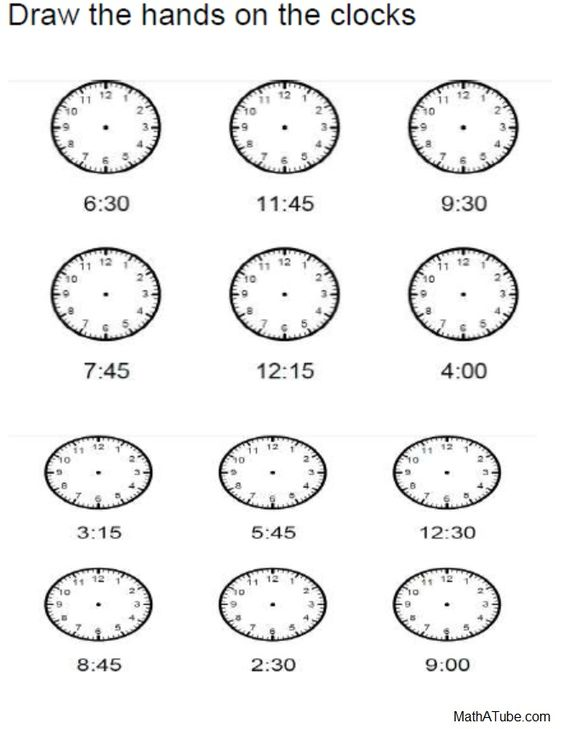 for telling time to the half and quarter hour – Telling Time to the Quarter Hour Worksheets