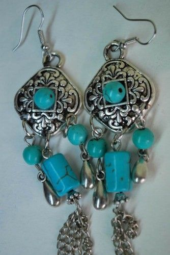 Handmade Tibetan Silver and Turquoise Stone Earrings