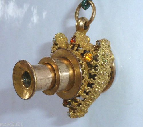ANTIQUE FRENCH TELESCOPE SPYGLASS CHATELAINE CHARM FOB 19TH CENTURY: