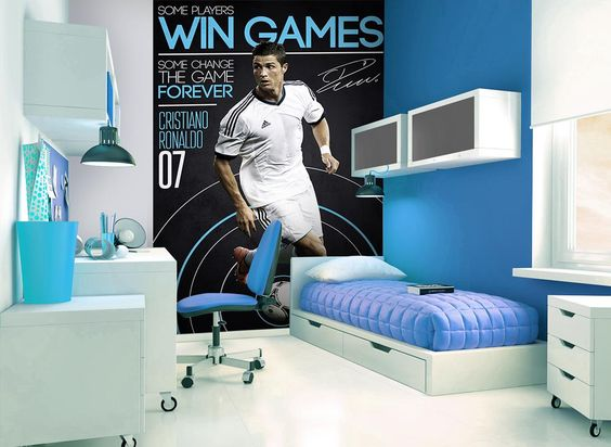 Ronaldo mural ronaldo football bedroom decor for Cristiano ronaldo wall mural