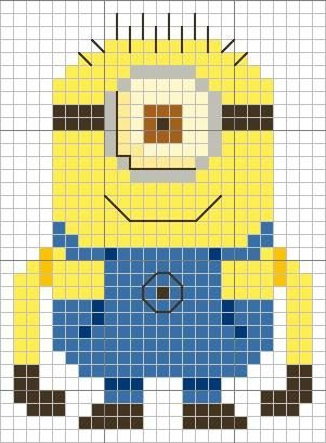 Despicable Me Minion cross stitch chart from Sheena Rogers  -free (Yellow 307; Dark Yellow 742; Blue 799; Dark Blue 796; Brown 434; Very Dark Brown 3371; Cream 746; Dark Cream 677):