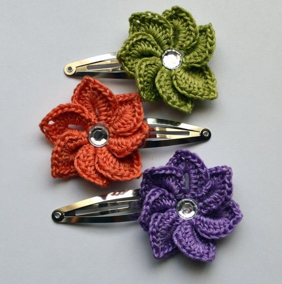 hair clips flower hair crochet flowers hair clips toddler hair spirals ...