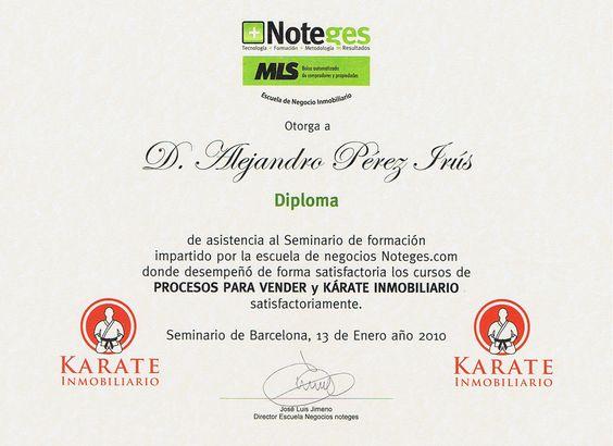 2010 Escuela Club Noteges Karate Samurai Inmobiliario Diploma Reconocimiento Formacion Inmobiliaria AlejandroPI Alejandro Perez Irus Medico Formador