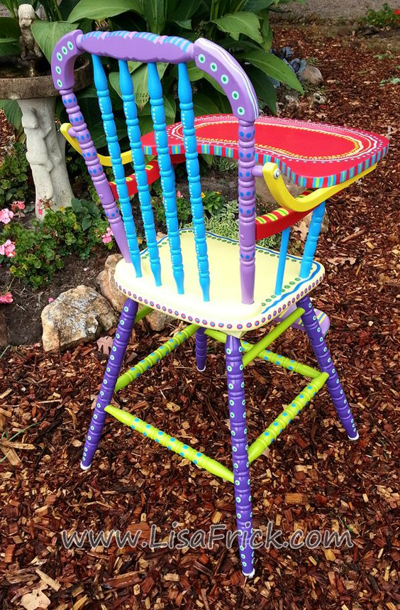 SOLD- Antique Hand Painted Colorful High Chair