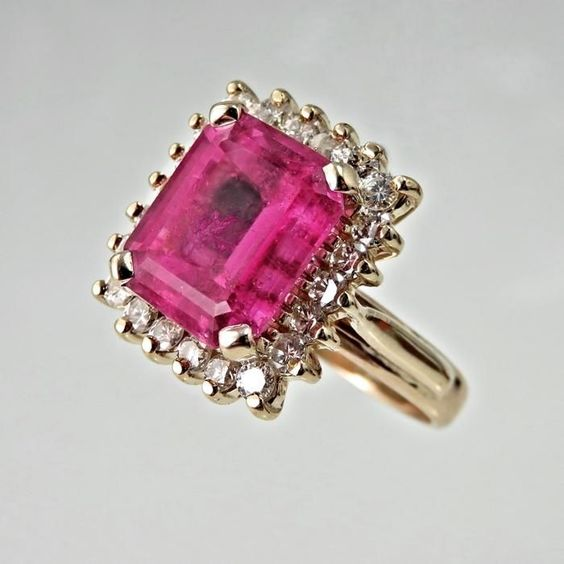 http://rubies.work/0214-ruby-rings/ Pink Tourmaline Engagement Ring Art Deco Engagement Ring 1940s from thegenuinearticle on Ruby Lane: Ruby