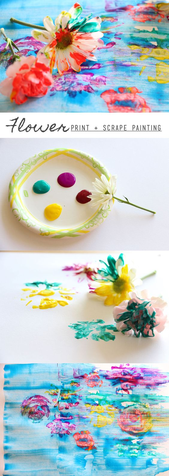 Flower Print & Scrape Painting  - fun Spring art project for kids: