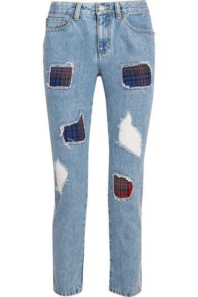 Jean bleu  Bouton apparent et fermeture à glissière dissimulée sur le devant   100 % coton ; finitions : 60 % polyester, 40 % rayonne   Lavage en machine