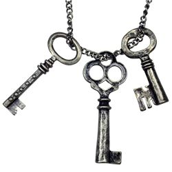 Burnished Silver Keys Necklace - FJ-123 by Medieval Collectibles