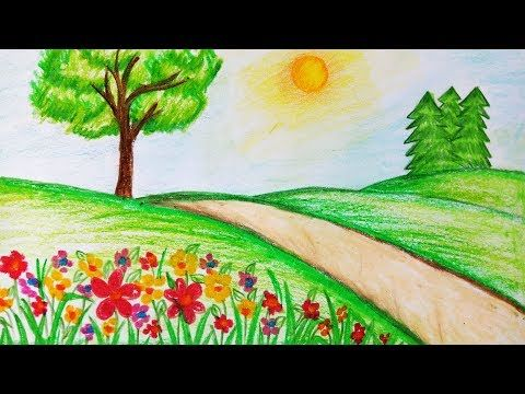 How to draw garden scenery.Step by step(easy draw) , YouTube