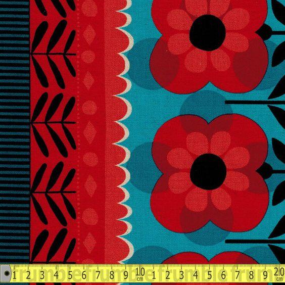 Kokka Fabric Retro 60s Flower Border Red Metre PER METRE Vintage 1960s Groovy Fl