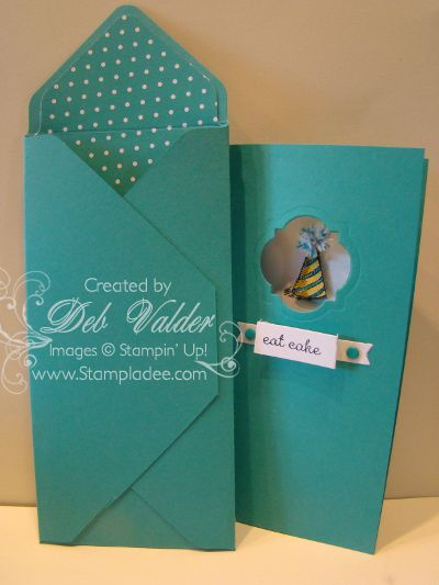 handmade card and matching envelope ... tall and thin format ... used Envelope Punch Board ... by Deb Valder ... Stampin' Up!