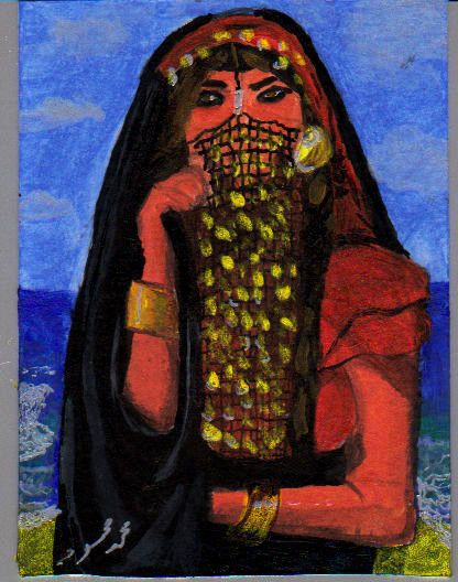ACEO ATC Egyptian woman from old time Acrylic mini painting #Miniature